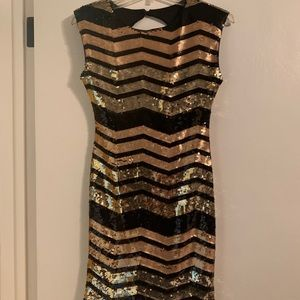 As U Wish Black and Gold Sequin Dress